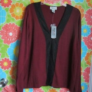 XL Style & Co Lace Edged Cardigan NWT
